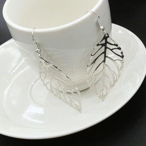 Simple Elegant Silver Tone Hollow Leaf Earrings